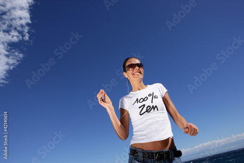 Woman joggin at the beach