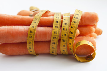carrots and measuring tape