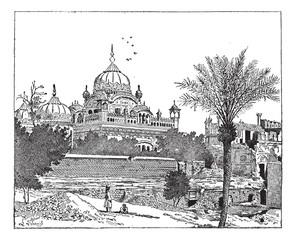 Mausoleum of Ranjit Singh, Lahore, Pakistan, vintage engraving.