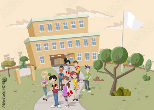 Teenager students in front of school