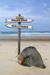 Double directional signs on a beach – problems / solutions