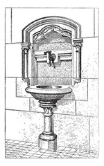 Sink at the Notre Dame Cathedral in Paris, France, vintage engra