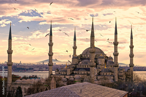 Foto op Aluminium Oude gebouw The Blue Mosque, Istanbul, Turkey.