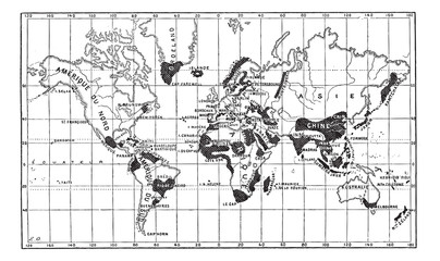 Map of the Geographical Occurence of Leprosy, vintage engraving