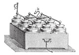 Electric Battery made up of Leyden Jars, vintage engraving