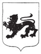 Walking Lion in Coat of Arms, vintage engraving