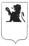 Half-Lion in Coat of Arms, vintage engraving