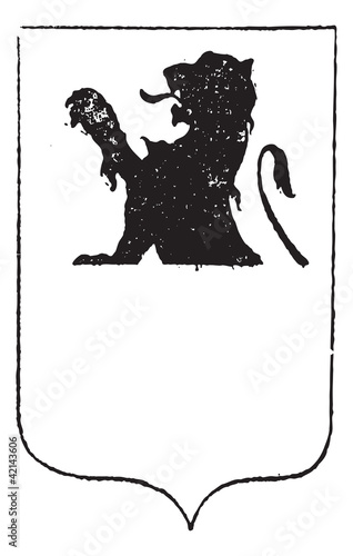 Half-Lion in Coat of Arms, vintage engraving