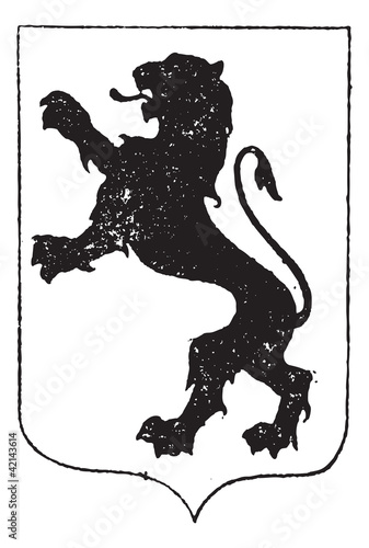 Standaing Lion in Coat of Arms, vintage engraving