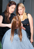 stylist training young specialist of work withclient in salon poster