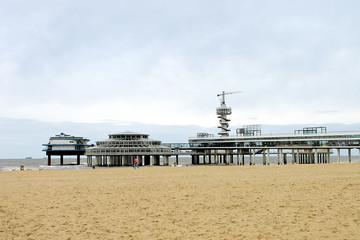 Spring on the coast. Pier of Scheveningen in Netherlands