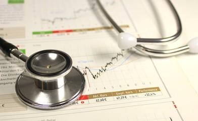 Börsenchart mit Stethoskop