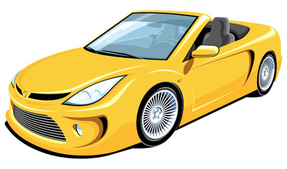 Vector isolated yellow convertible car