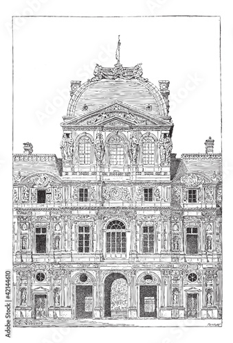 The Louvre Palace, vintage engraving.