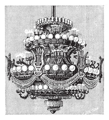 Chandelier of the  Opera of Paris, vintage engraving.