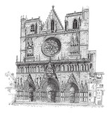 Lyon Cathedral in Lyon,France, vintage engraving