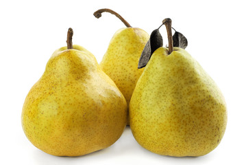 Three  ripe  and juicy pears on a white background
