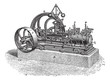 Horizontal Steam Engine, vintage engraving