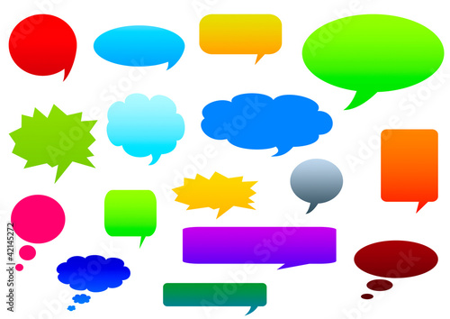 Collection of colorful speech bubbles and dialog balloons.