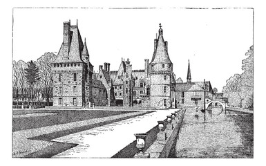 Maintenon Castle in Centre, France, vintage engraving