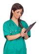 Atractive medical girl with a clipboard