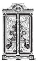 Boule Cabinet, vintage engraving