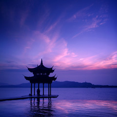 west lake with sunset in hangzhou,China. .