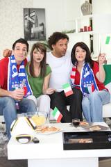 Italian football fans at home