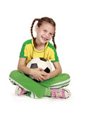 smiling girl holding football