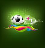 Vector football goal on artistic background design poster
