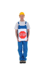 Construction worker with a stop sign