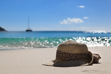 hat on the beach