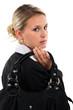 Blond businesswoman holding handbag