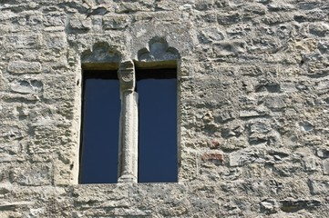 Window in fortification wall of castle Schlossberg, Hainburg