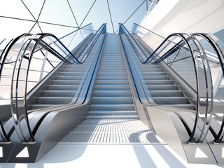 escalator in futuristic building
