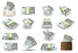 full set of five euros banknotes