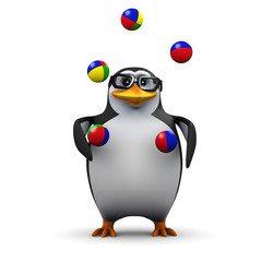 3d Penguin in glasses juggles balls