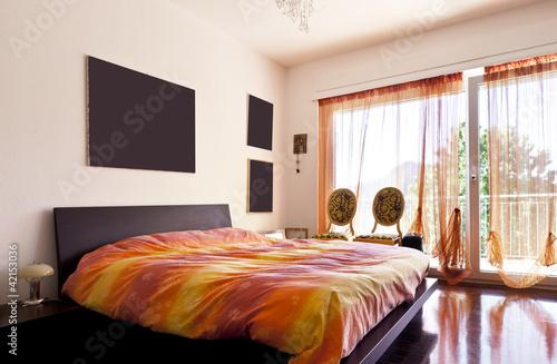 interior loft, furnished bedroom