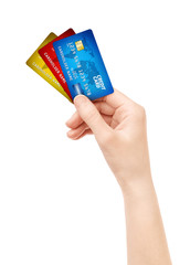Isolated рand holding pack of credit card