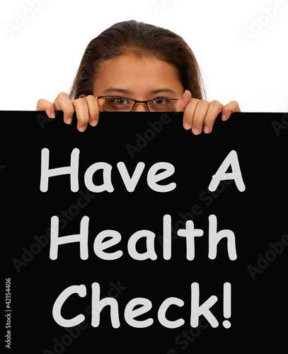 Health Check Message Showing Medical Examination