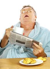 Man Asleep At Breakfast