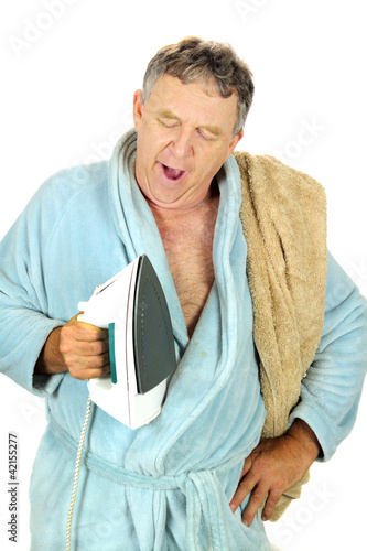 Yawning Man With Iron