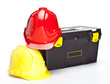 Construction toolbox and hardhats