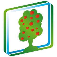 Logo Signet Himmel Obstbaum Rahmen 3-D mit QXP9 Datei