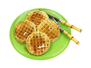 Blueberry Waffles Plate Syrup