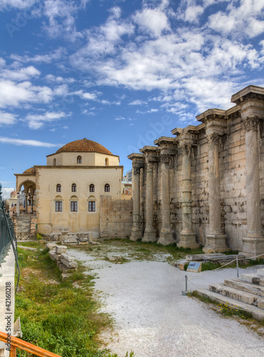 Library of Hadrian ruins and Tzisdarakis Mosque, Athens, Greece