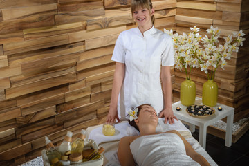 Female masseur give beauty treatment luxury spa