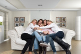 Female family sofa cuddle
