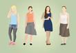 4 Silhouetten weiblich modern