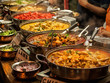 Oriental food - Indian takeaway at a London's market
